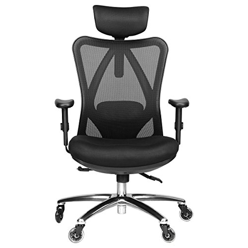 Duramont Ergonomic Adjustable Office Chair with Lumbar Support and Rollerblade Wheels - High Back with Breathable Mesh - Thick Seat Cushion -...