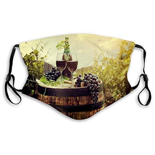 Winddichte Aktivkohle Ma-Sk Wein, Landschaft der Toskana mit Fass, Paar Gläser und Reif, Gesichtsdekorationen für Kinder und Jugendliche (S)