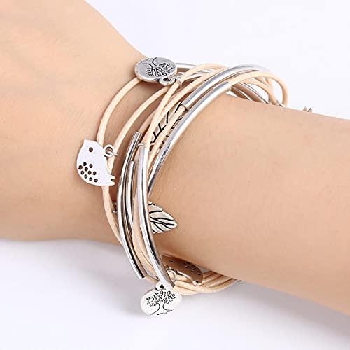 SPS Bracelet en Cuir Multi couches fait à la Main Bracelets d'oiseaux d'enveloppement Bracelets de pendentif de Plume de Couleur argentée pour Les Femmes