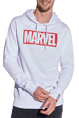 Course Herren Hoodie Original Lizenz Marvel Kapuzenpullover Sweat Logo, Weiß, M