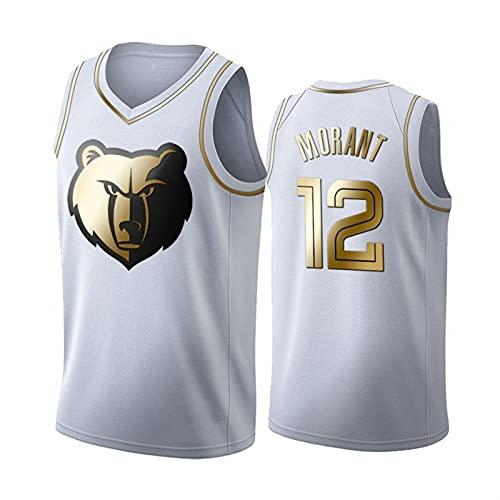 YDHZ Grizźlies # 12 Morántul New Temporada Basketball Jersey Bordado Baloncesto Camisa Chaleco Malla Transpirable Medias Manga Camiseta Rookie Top White-L