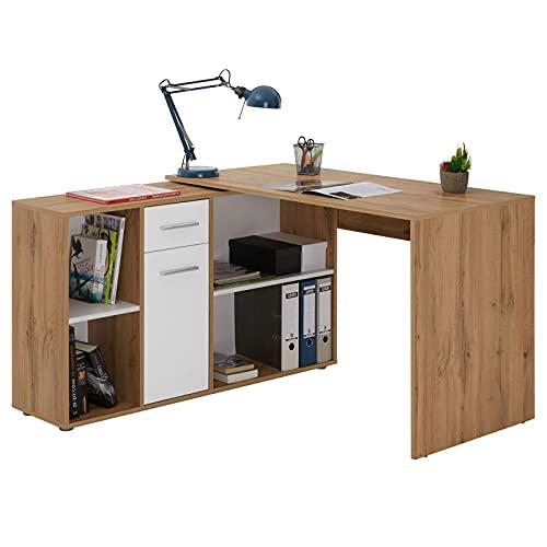 IDIMEX Bureau dangle Carmen Table avec Meuble de Rangement intégré et modulable avec 4 étagères 1 Porte et 1 tiroir, décor chêne Sauvage et Blanc Mat