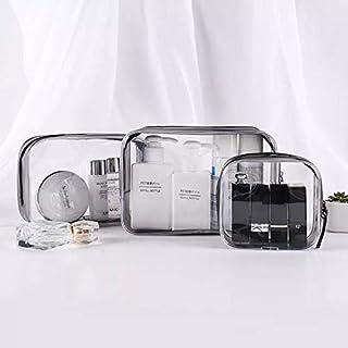 3 Pcs Clear Makeup Organizer Cosmetic Toiletry Travel Beach Pool Spa Gym Bag (Black)