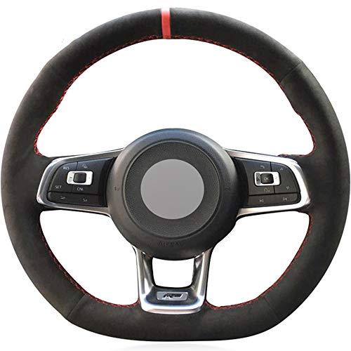 JIANGJUNCHE Para Gamuza Negra Cosida a Mano Cubierta del Volante del Coche para Volkswagen Golf 7 GTI Golf R MK7 VW Polo GTI Scirocco 2015 2016,Red