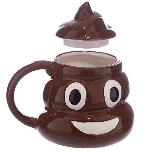 DYHM Gläser Biergläser Bierkrüge Lustiger keramischer Becher 3D Emoji Karikatur-Lächeln-Kaffee-Milchkacke-Becher-Wasserbecher mit Handgriff-Deckel-Tee-Schalen-Büro Drinkware #346