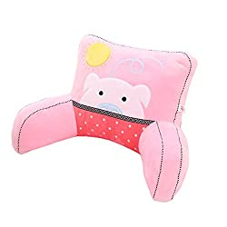 Mlotus Pink Pig Plush Back Support Lumbar Pillow with Arms. Kids Bedrest Reading Pillows Cushion.