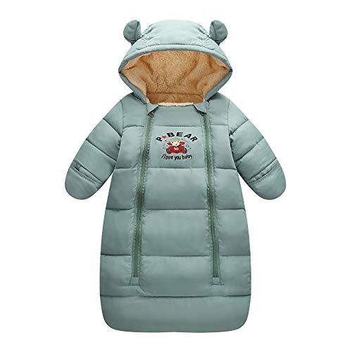 EsTong Baby Sleeping Bag Newborn Hooded Pram Bag Girls Boys Snowsuit Bunting Green M (3-6 Months)
