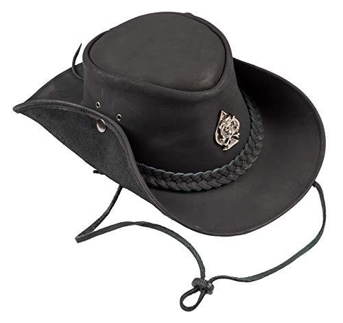 H15 H15 Cowboyhut Skull - Lemmy Style Lederhut aus hochwertigem Rinderleder (S)