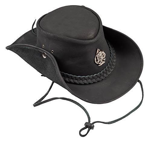 H15 Cowboyhut Skull - Lemmy Style Lederhut aus hochwertigem Rinderleder (XL)