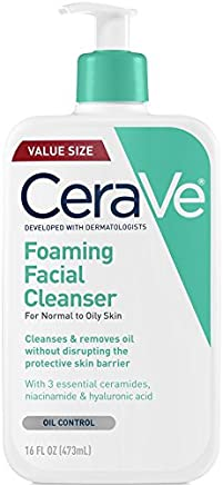 CeraVe - Foaming Facial Cleanser for Daily Face Washing - Normal to Oily Skin - 16 oz - 473ml - Value Size
