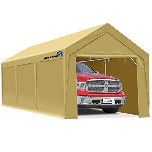 PEAKTOP OUTDOOR 10 x 20 ft Upgraded Heavy Duty Carport Car Canopy with Removable Sidewalls, Portable Garage Tent Boat Shelter with Reinforced Triangular Beams and 4 Weight Bags,Beige