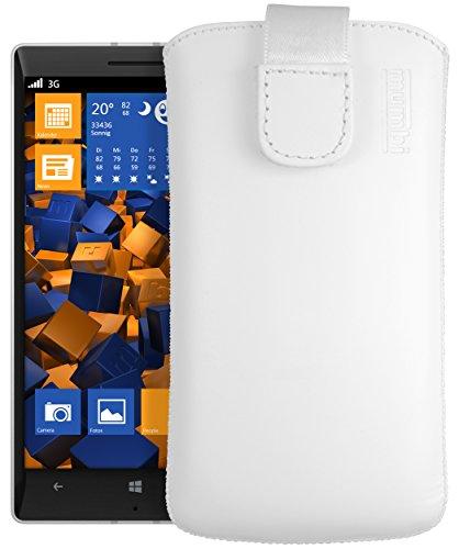 mumbi Echt Ledertasche kompatibel mit Nokia Lumia 930 Hülle Leder Tasche Hülle Wallet, Weiss