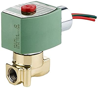 "ASCO 8262H020-120/60,110/50 Brass Body Direct Acting General Service Solenoid Valve, 1/4"" Pipe Size, 2-Way Normally Closed, Nitrile Butylene Sealing, 370 psi Maximum Air Operating Pressure, 3/32"" Orif from ASCO Valve Inc."
