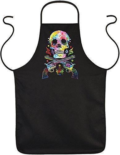 Unbekannt Neon Totenkopf Grillschürze - Kochschürze Skull : Skull & Guns - Totenkopf Schürze