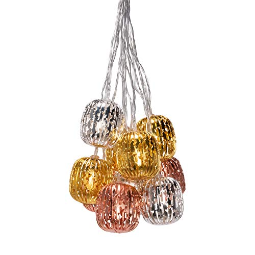 Allsop 32162 Marrakesh META-Multi Cactus Punched Metal Solar String Light