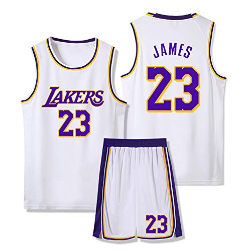 Set Trikot da Basket Maschile, NBA Los Angeles Lakers # 23 Lebron James Retro Pallacanestro Swingman Edition Mesh Jersey Sport Canotta Senza Maniche,Bianca,M 155~160cm