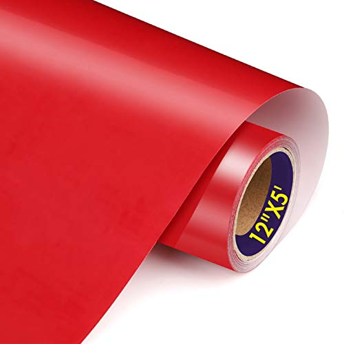 TransWonder Red Heat Transfer Vinyl-HTV Viny 12in.x5ft, Iron on Vinyl for T Shirts Gifts for Mom or Dad (Deep Red)