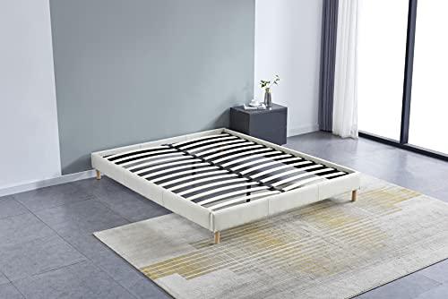 Cama futón doble con somier y patas de madera, revestimiento de tela blanco (160_x_200_cm)