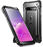 Poetic Galaxy S10 Rugged Case with Kickstand, Heavy Duty Military Grade Full Body Cover, Without Built-in-Screen Protector, Revolution Series, for Samsung Galaxy S10 6.1 Inch (2019), Black