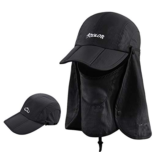 ICOLOR Folding Sun Cap,360°Protection Flap Hats,Adult UPF 50+ Flap Cap,Sun Hats,Removable Neck & Face Flap Cover for Baseball,Backpacking,Hiking,Fishing,Garden,Hunting Outdoor Activities-Black