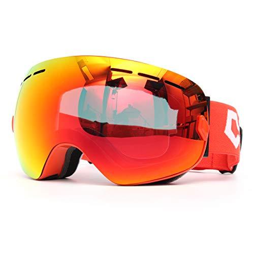 GEMITTO Unisex Professionele dubbele schijf snowboard bril anti-condens UV-bestendig voor heren en dames kleur lens Red Frame