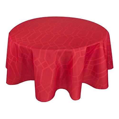 Valia Home Tischdecke Tischtuch Tafeldecke abwaschbar wasserdicht schmutzabweisend Lotuseffekt pflegeleicht Teflon behandelt rund 140 cm rot