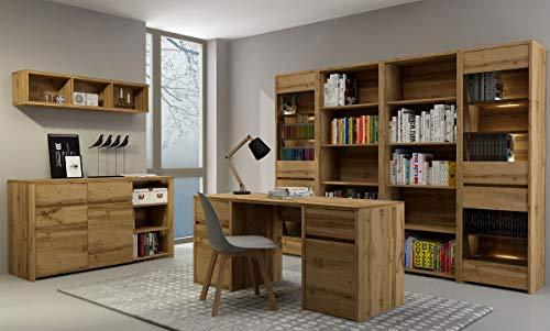 QMM Traum Moebel Büroeinrichtung Arbeitszimmer Büromöbel komplett Forest Set B 7-TLG Schreibtisch, Regale, Kommode