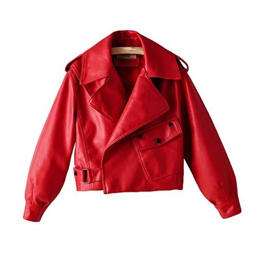Kaiyei Mujer Cuero Casacas Estudiante Casual Primavera Otoño Biker Cazadora Mujer Polipiel Chamarra Moda Tirar de la Hebilla Corto Abrigo Chaquetas Cortas De Piel Dama Cuero Sintetico Blazer Rojo S