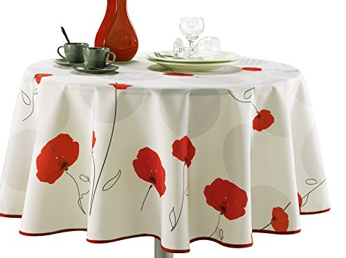 My Jolie Home 63-Inch Round Tablecloth Ivory White Red Poppy Flower, Holidays, Christmas Stain Resistant, Washable, Liquid Spills Bead up, Seats 6 to 8 People (Other Size: 60x80, 60x95, 60x120)