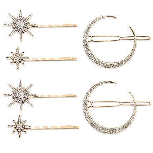 6 Pieces Stars and Moon Hair Clips, Vintage Rhinestone Star Hair Pin Metal Alloy Moon Hair Pin, Snowflake Moon Star Hair Barrettes Accessories for Women&Girls (Six)