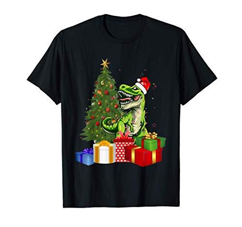 Santa Dinosaur Christmas Tree Light Cute T-Rex Xmas Dinosaur T-Shirt