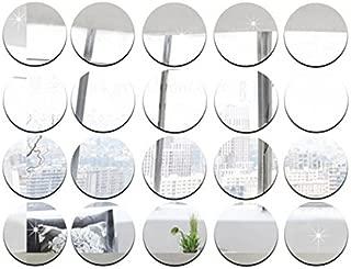 5cm Diameter Round Mirror Sticker , DIY Accessory Decorative Mirror Pieces , Acrylic Mirror Sticker ,50pcs/lot (Silver)