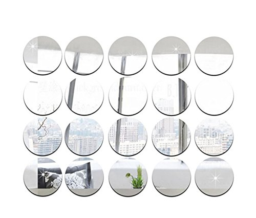 Spiegel-Aufkleber, rund, 5 cm Durchmesser, DIY-Zubehör, dekorative Spiegelstücke, Acryl-Spiegel-Aufkleber, 50 Stück silber