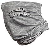 Fishoholic Fishing Face Mask Buff -3 Colors- UPF50+ Fishing Neck Gaiter Wind Dust Sun Protection Hunting Bandana (GreyH2OCamo-v1)