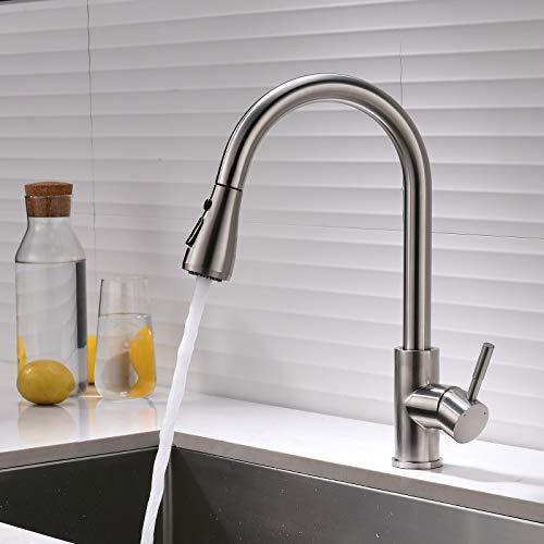 AIMADI Grifo de cocina con ducha extraíble, giratorio 360°, grifo mezclador para cocina, muelle en espiral, níquel cepillado