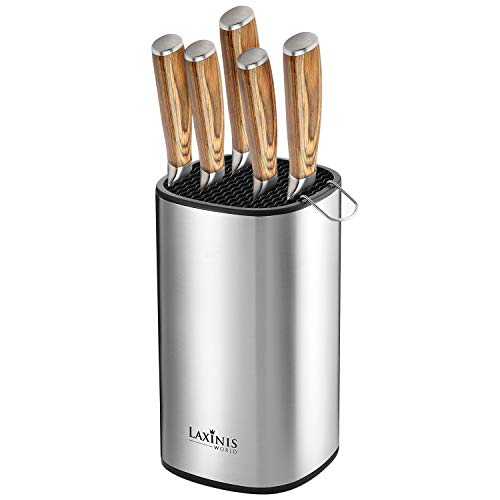 "Universal Knife Block Stainless Steel Knife Holder Knife Organizer Modern Rectangular Design 85"" by 5"" With Rubber Bottom"