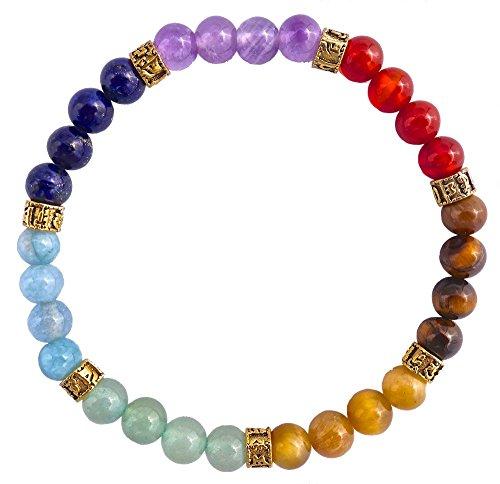 7 Stone Chakra Bracelet - Golden Om Edition (6mm)