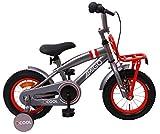 Amigo 2Cool - Bicicleta Infantil de 12 Pulgadas - para niños de 3 a 4 años - con V-Brake, Freno de Retroceso, Timbre, portaequipjaes Delantero y ruedines - Gris
