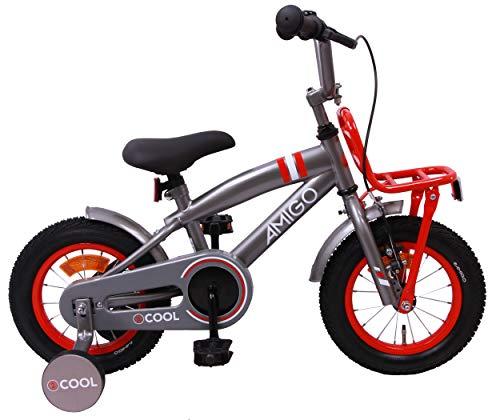 Amigo 2Cool - Kinderfahrrad für Jungen - 12 Zoll - mit Handbremse, Rücktritt, Gepäckträger Vorne und Stützräder - ab 3-4 Jahre - Grau