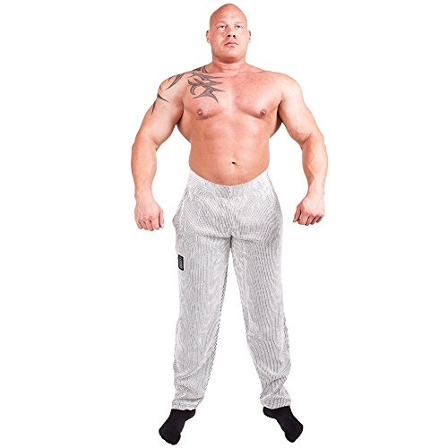 Gym-Pant, Bodypant, Bodybuilding Pant, FitnessPant S10 - Color: white Size:XL