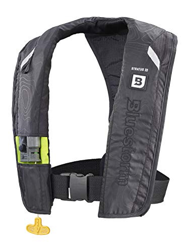 Bluestorm Gear Stratus 35 Inflatable PFD Life Jacket (Apex Black)   US Coast Guard Approved Automatic/Manual Life Vest for Adults