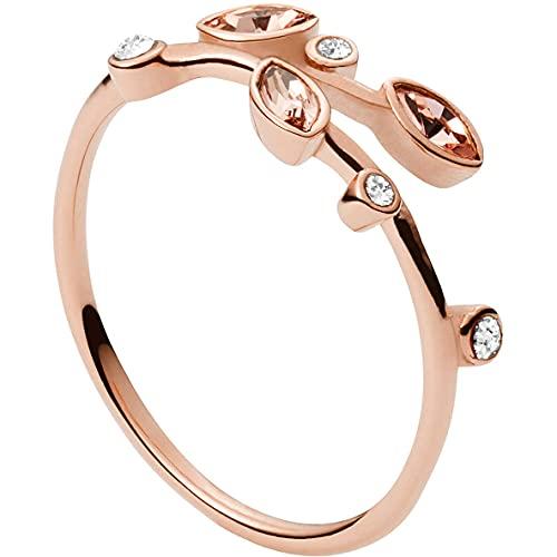 Fossil Anillo para mujer de acero inoxidable, color oro rosa, JF03701791