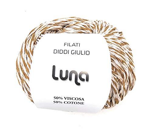 Chicca Tutto Moda Gomitolo per Lavoro a Maglia Ferri 4/5 per Misto Cotone 100 Grammi 300 m Alta qualità Made in Italy Luna (Melange Multi Beige-Oro)