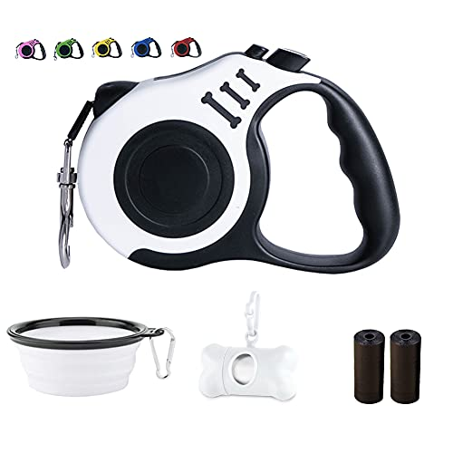 Dunhuang Retractable Dog Leash for X-Small Small Medium, 10ft (for Dogs Up to 22lbs), with 1 Free Portable Silicone Dog Bowl + 1 Waste Bag Dispenser + 3 Waste Bag (White)