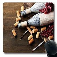 マウスパッドは古いボトルを祝いますワインブドウフードドリンク高齢者温度計長方形7.9 X 9.5インチ長方形ゲームマウスパッド滑り止めゴムマット