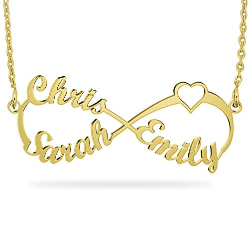 JOELLE JEWELRY Personalized Gold Infinity Name Necklace 18K Gold Plate Custom Infinity Heart Necklace Gift for Family Mother