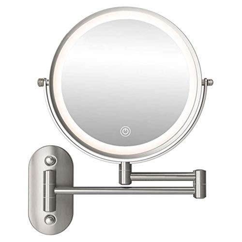 JXING Espejo De Maquillaje con Luz LED 1X/5X Aumento Espejos De Aumento De Pared con 3 Modos De Color De Luz Interruptor De Pantalla Táctil Recargable USB