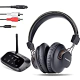 Avantree HT5009 Class 1 Long Range Bluetooth Wireless Headphones for TV Watching, No Delay, Digital Optical AUX RCA Support, Dual Audio Output Support to Headphones & Wired Sound Bar Simuteneously