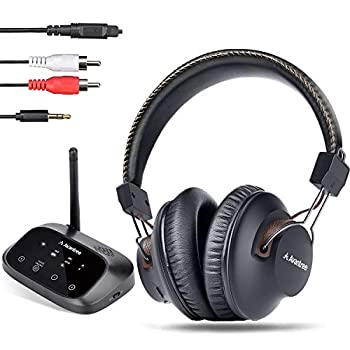 Avantree HT5009 40 Hrs Wireless Headphones for TV Watching w/Bluetooth Transmitter - Digital Optical RCA Aux Pass-Through Support Hearing Headset Ideal for Seniors No Audio Delay 164ft Long Range