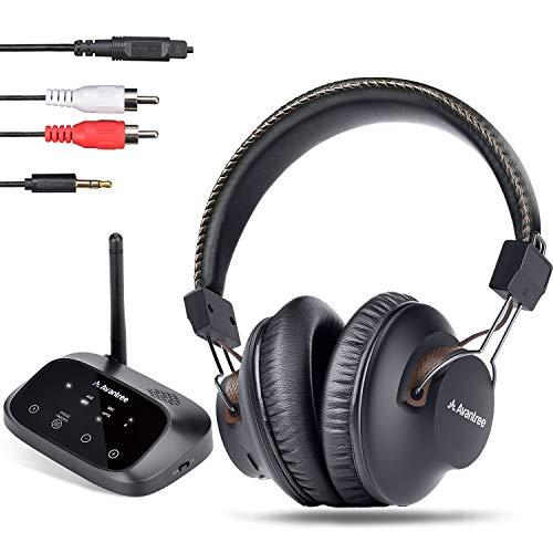 Avantree HT5009 Largo Alcance 40 Horas Auriculares Inalámbricos para TV con Transmisor Bluetooth (Óptico, RCA, AUX), para Ver la TV con Auriculares y Altavoces con Cable Simultáneamente